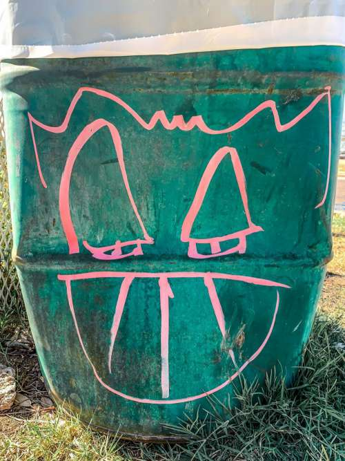 Strange Smiliing Face on Garbage Can