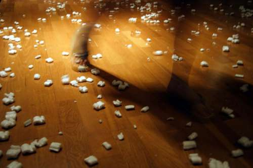 Scattered packing peanuts