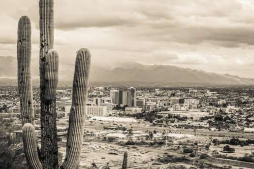 Sepia Toned view of Dowtown Tucson