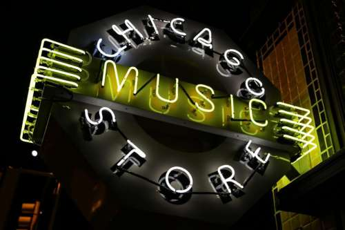 Chicago Music Store sign