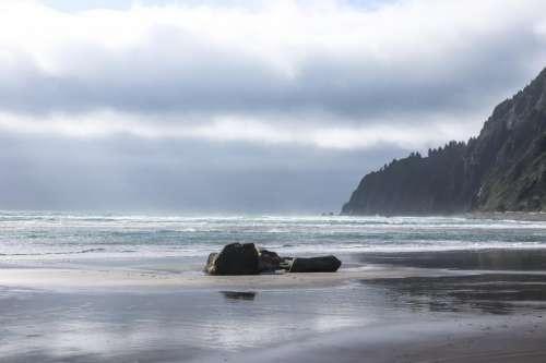 Darkening sky on Oregon coast