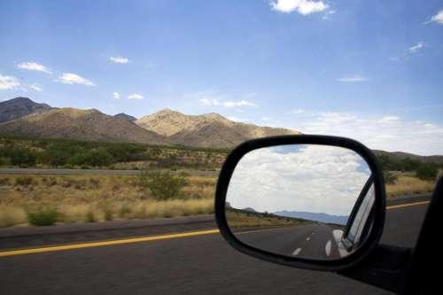 driving through desert foothills