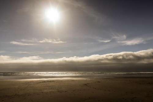 Oregon Coast Beach with Bright Sun