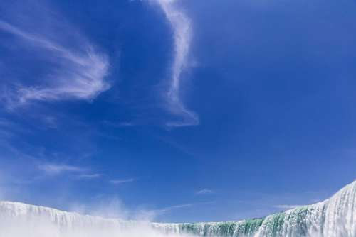 Waterfall & Blue Sky Free Photo