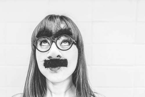 Woman With Moustache Free Photo