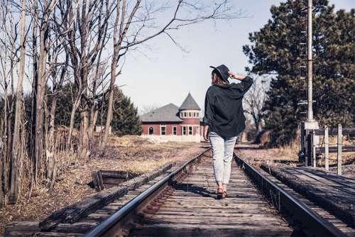 Woman Walking Tracks Free Photo