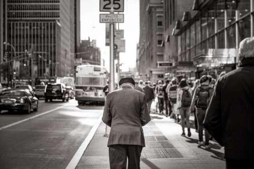 Old Man on City Street Free Photo