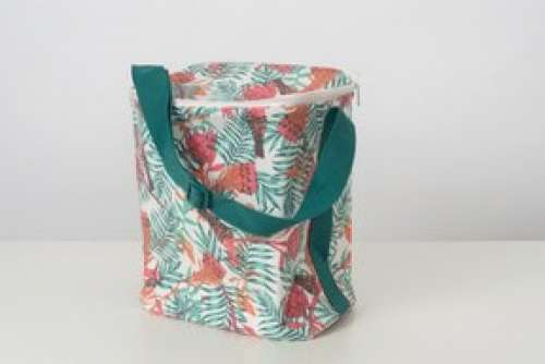 A Summer Thermal Lunch Bag With Printed Plants And Butterflies On It