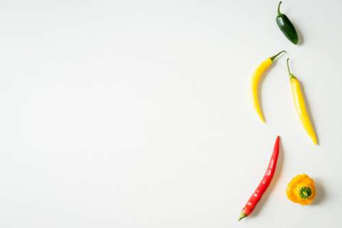 Chili Peppers on White Background