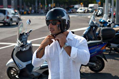 Male Biker Helmet