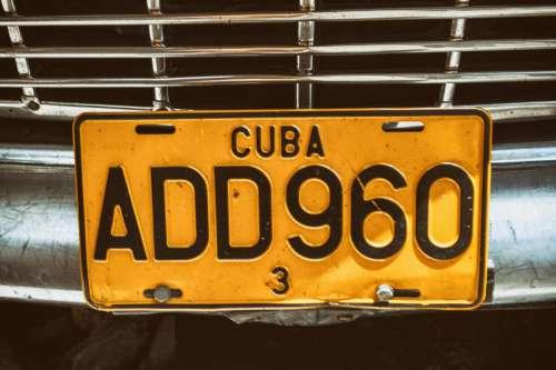 Cuba Licence Plate