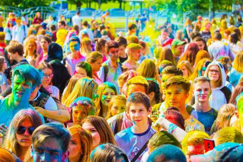 Crowd of Young People at Festival of Colors