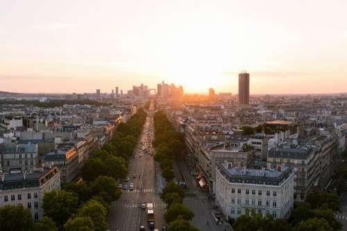 Aerial City Sunset