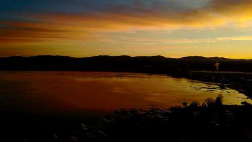 Aerial Sunset Lake