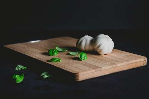 Garlic Herbs in Kitchen
