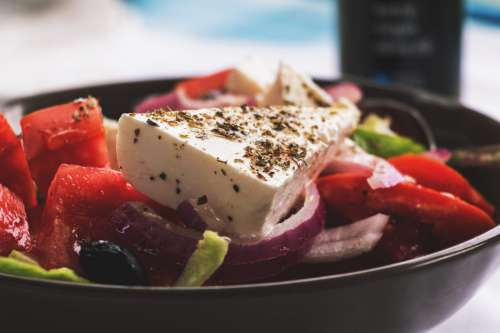 Greek Salad with Feta Cheese, Red Peppers & Onions