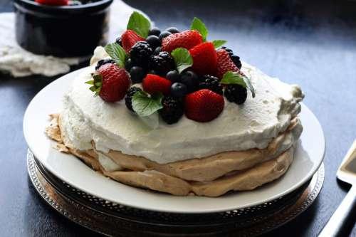Delicious Fruit Pavlova Dessert with Strawberries