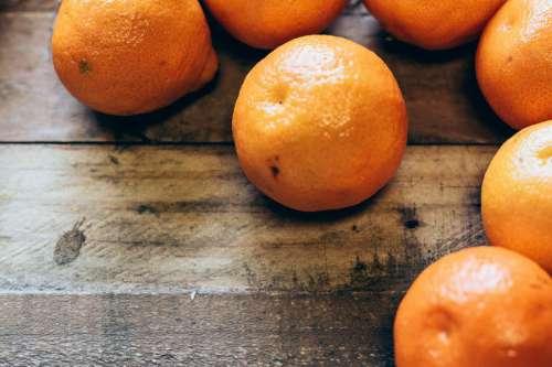 Oranges on Wood Table