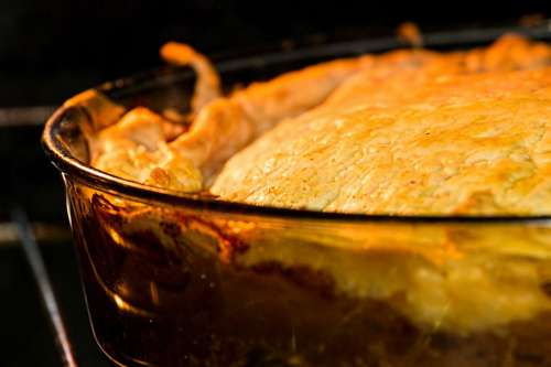 Meat Pie in Oven