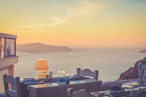 Beautiful Summer Setting Dinner Table at Sunset