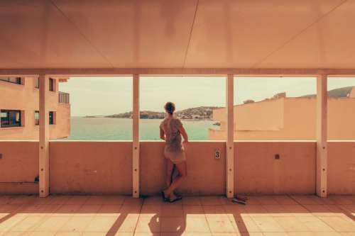 Woman Enjoying Coastal View