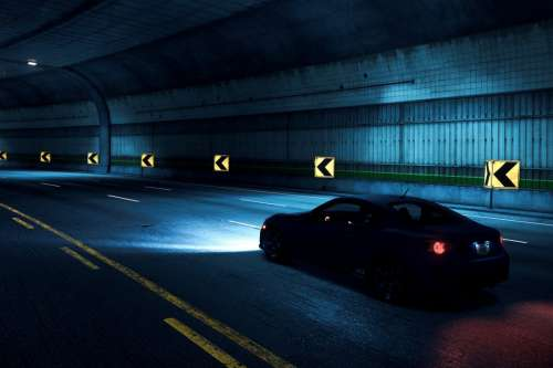 Car Driving in Tunnel