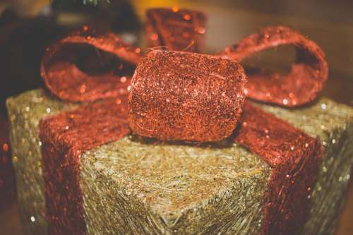 Christmas Present With Red Bow
