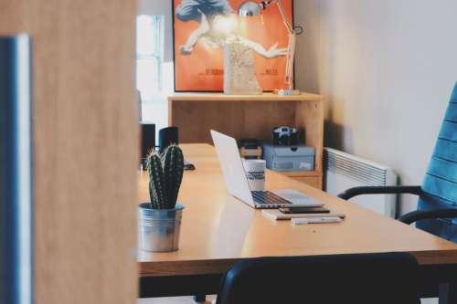 Desk, Laptop & Cactus