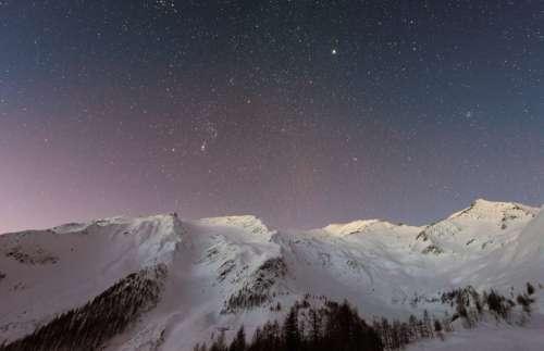 Mountain Snow at Sunset