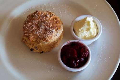 Restaurant Scone Jam Cream Plate