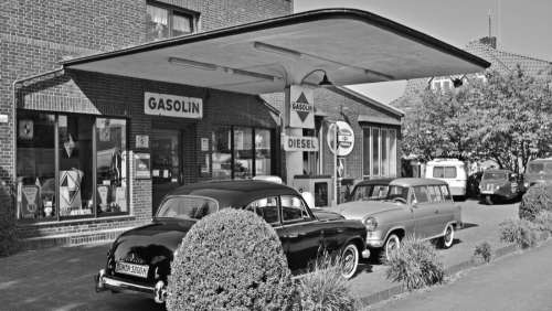 Black & White Gas Station