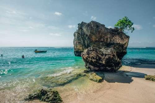 Large Rock on Bali Beach