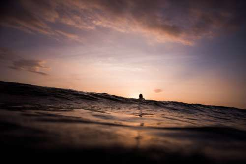 Surfer at Sunset Waiting for Waves