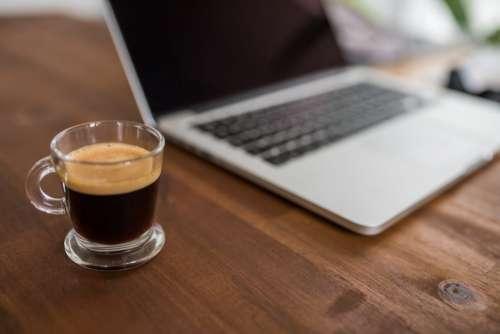 MacBook Computer & Espresso Coffee