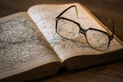 Atlas World Map & Glasses