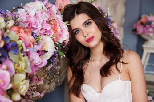 Woman Model by Flowers