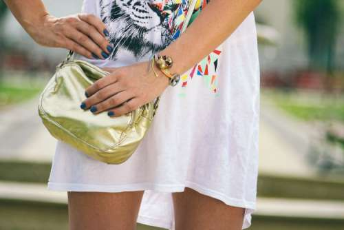 Girl with golden bag