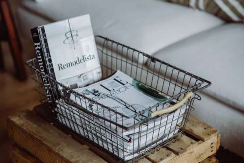 Magazines in a metal basket