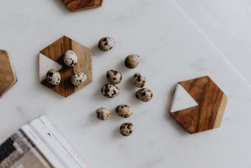 Quail eggs and white marble