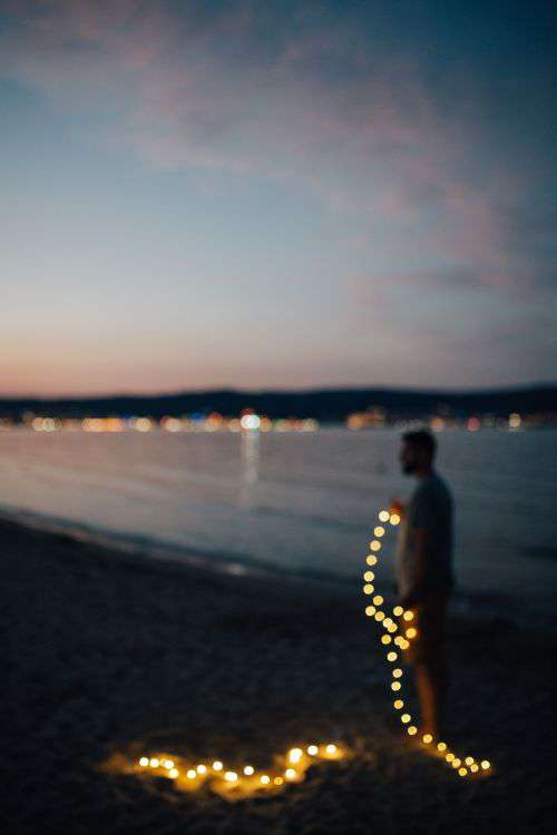Fairy lights at the beach in Bulgaria