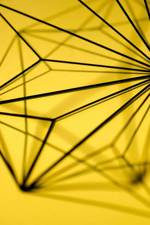 Geometric decoration on yellow background