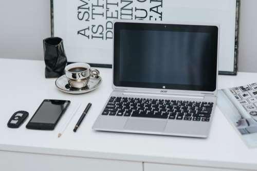 Laptop computer on white desk