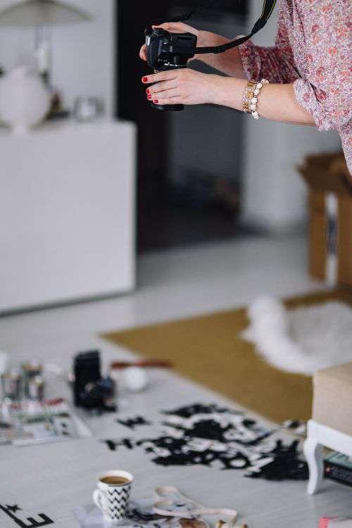 Woman arranging scrambled letters
