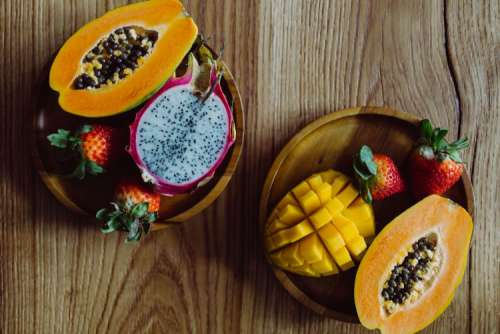 Exotic fruits on a wooden table
