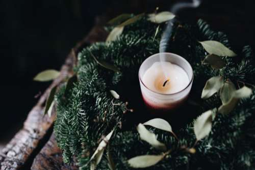 Candle and wreath