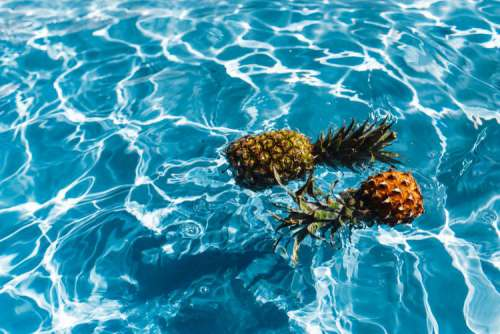 Pineapple in a swimming pool