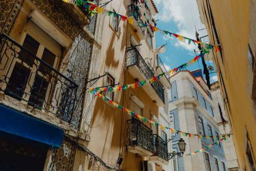 Streets decorated for the Saint Anthony Feast in Lisbon, Portugal