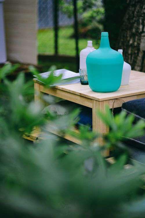Miscellaneous items in a sunny garden