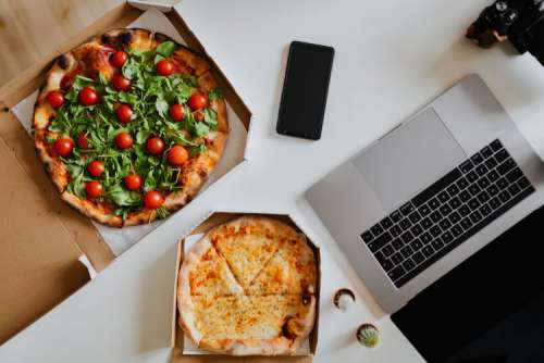 A workplace full of pizza