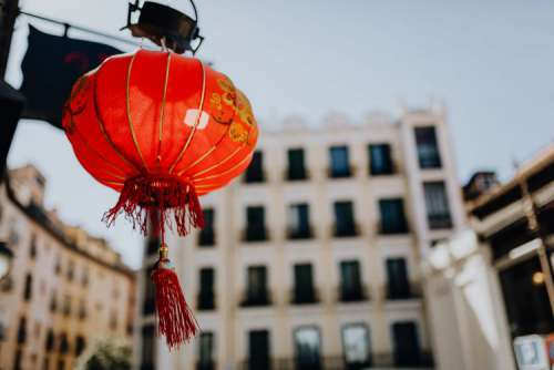Red chinese lamp in Madrid, Spain